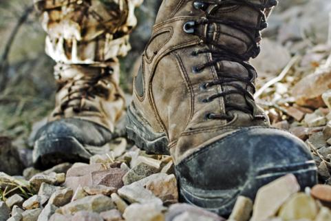 Hunting boots on rocky terrain