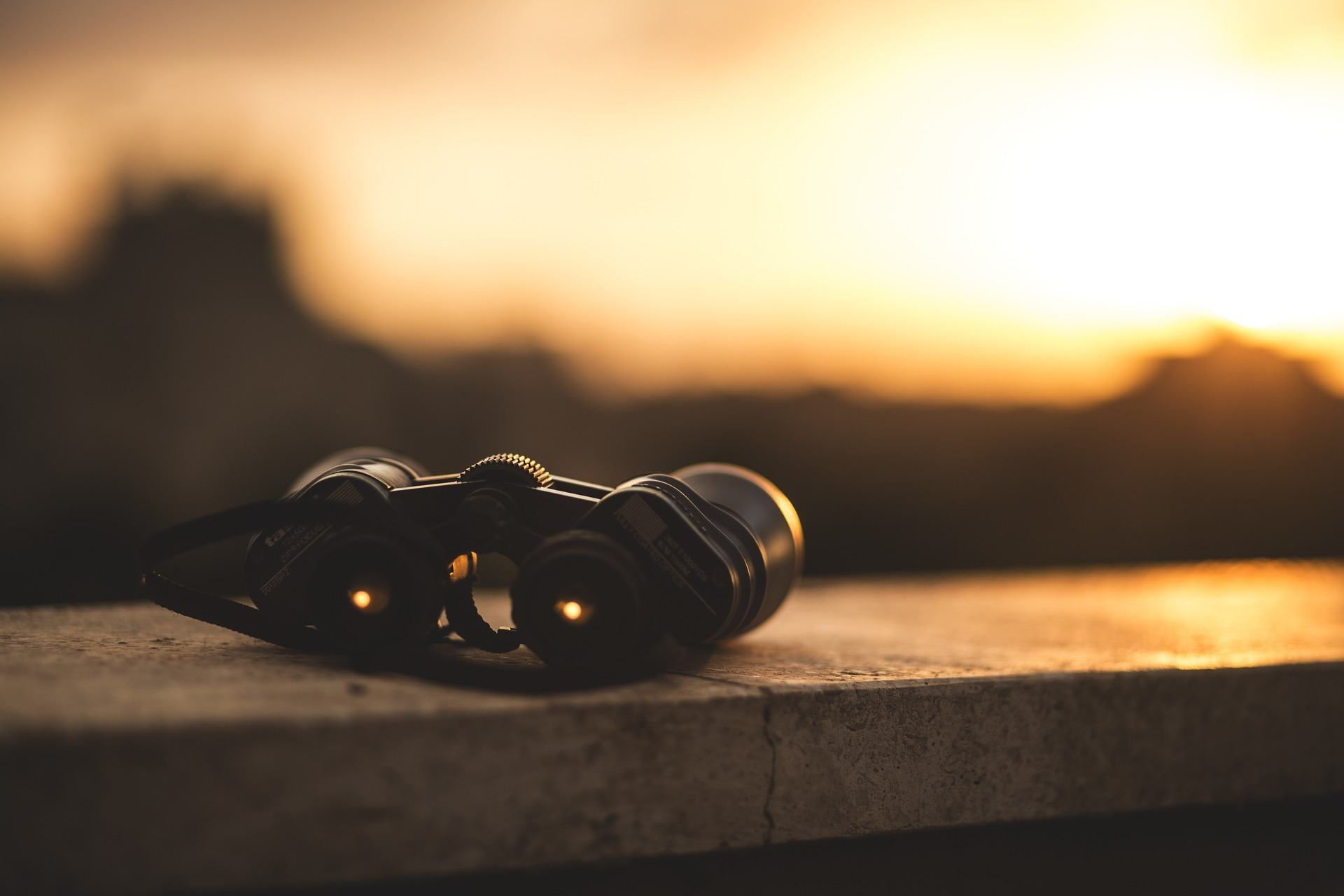 A pair of leica binoculars on a table at sunset.