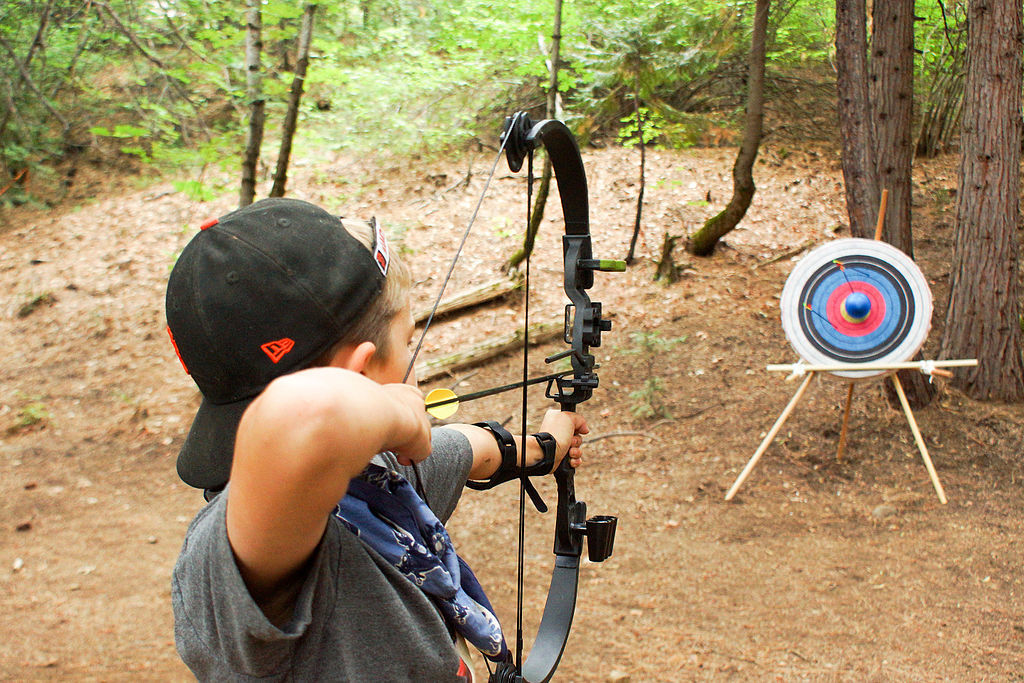 A picture aiming a bow and arrow at a target