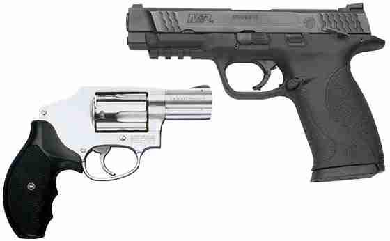 A Revolver and a Semi-Automatic Pistol