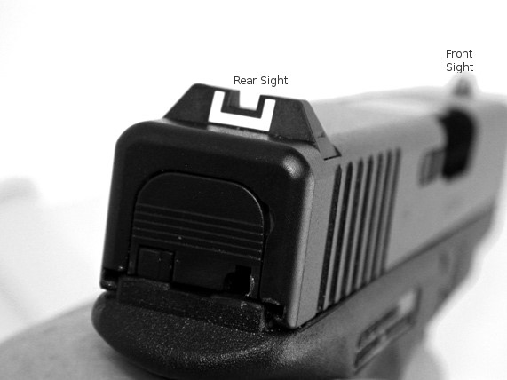 Rear and Front Sights on a Handgun